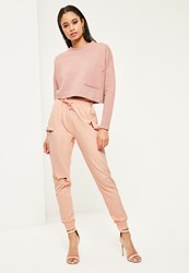Missguided Nude Distressed Ripped Joggers