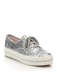 Keds For Kate Spade New York Triple Kick Glitter Platform Sneakers Sliver