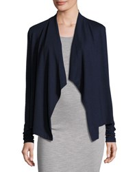 Three Dots Open Front Draped Cardigan Light Gray
