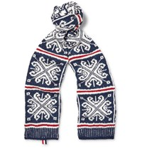 Thom Browne Patterned Wool And Mohair Blend Scarf Navy