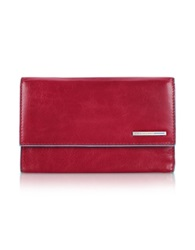 Piquadro Blue Square Leather Flap Wallet Red