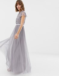 Needle And Thread Embellished Bodice Tulle Maxi Gown In Lavender Vintage Lavender Purple