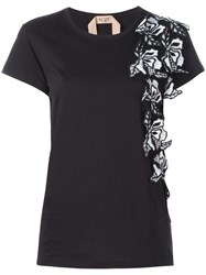 N 21 No21 Floral Embellished T Shirt Black