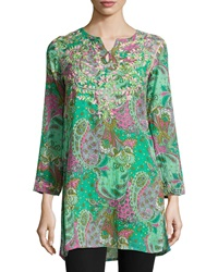 Raj Dali Paisley Long Sleeve Tunic Teal