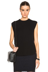 Alexander Wang Oversized Tank With Shirt Tail Hem In Black