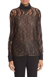 Prabal Gurung Women's Mock Neck Feather Lace Blouse