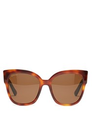 Gucci Oversized Cat Eye Frame Sunglasses Tortoiseshell