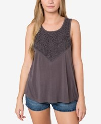 O'neill Juniors' Lawson Soutache Trim Tank Top A Macy's Exclusive Charcoal