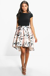 Boohoo Jay Sateen Printed Skirt Skater Dress Pink