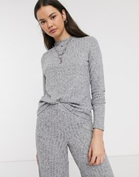 Noisy May High Neck Knitted Ribbed Top Co Ord Grey