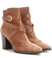 Tod's Suede Ankle Boots Brown