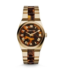 Michael Kors Channing Gold Tone Tortoise Acetate Watch