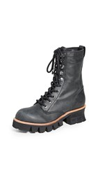 Jeffrey Campbell Sycamore Combat Boots Black Washed