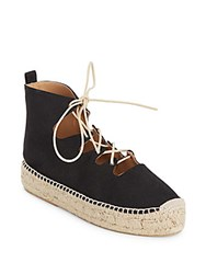 Bettye Muller Paisley Lace Up Platform Espadrilles Black