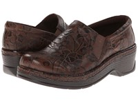Klogs Usa Naples Brown Flower Tooled Women's Clog Shoes
