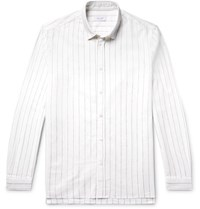 Enlist Striped Stretch Cotton And Linen Blend Shirt White