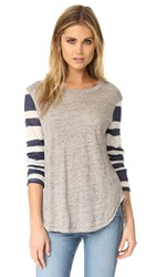 Wilt Stripe Mix Shirttail Tee Navy Stripe