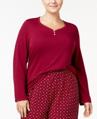 Nautica Plus Size Double Knit Pajama Top Red