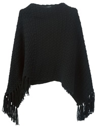 Dolce And Gabbana Braided Knit Poncho Black