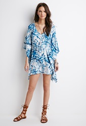 Forever 21 Tie Dye Poncho Dress Blue Cream