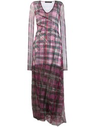 Y Project Sheer Check Maxi Dress Purple