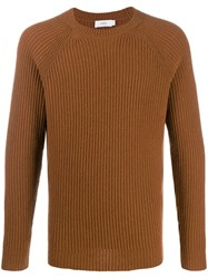 Closed Ribbed Knit Sweater Brown