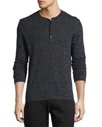 Billy Reid Speckled Henley Sweater Navy