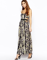 Lashes Of London Wildfire Maxi Dress With Cut Out Waist Yellow