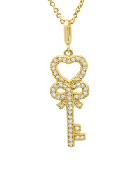 Crislu 18K Goldplated Sterling Silver Heart Key Necklace