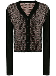 Marco De Vincenzo Sequin Panel Cardigan Black