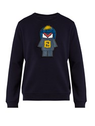 Fendi Piro Chan Applique Jersey Sweatshirt Navy Multi