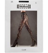 Wolford Clair Floral Lace Tights Black