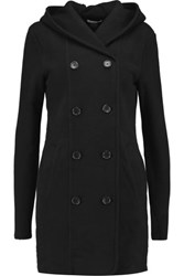 James Perse Double Breasted Cotton Hooded Coat Black