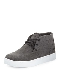 Andrew Marc New York Andrew Marc Wythe Canvas Lace Up Sneaker Black White