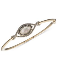 Judith Jack 10K Gold Plated Sterling Silver Blue Opal Marcasite Pave Bangle Bracelet