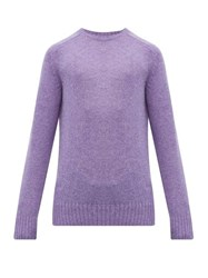 Prada Ribbed Trim Virgin Wool Sweater Purple