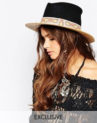Catarzi Straw Hat With Contrast Black Crown And Patterned Band Natural Black Beige