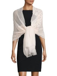 Saks Fifth Avenue Cashmere And Silk Lace Shawl Ivory Grey Black Rose