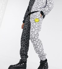 Reclaimed Vintage X Smiley Unisex Spliced Joggers In Black And White