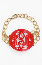 Women's Moon And Lola 'Annabel' Large Oval Personalized Monogram Bracelet Ruby Gold Nordstrom Exclusive