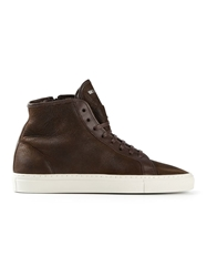 National Standard Lace Up Hi Top Sneakers Brown