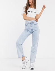 Weekday Rowe Organic Cotton Straight Leg Relaxed Fit Jean In Washed Blue
