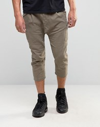 Asos Drop Crotch Cropped Trousers With Cargo Styling Shittake Brown