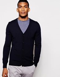 Reiss Merino Wool Cardigan Navy