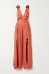 Patbo Belted Buckled Lace Paneled Woven Jumpsuit Orange