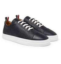 Thom Browne Pebble Grain Leather Sneakers Navy