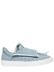 Ports 1961 20Mm Layered Check Canvas Sneakers White Blue