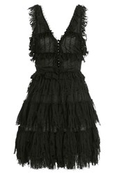 Alexander Mcqueen V Neck Ruffle Mini Dress Black