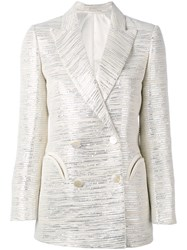 Blaze Milano Metallic Embroidered Blazer Nude Neutrals
