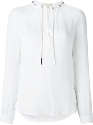 Michael Michael Kors Drawstrings Longsleeved Blouse White